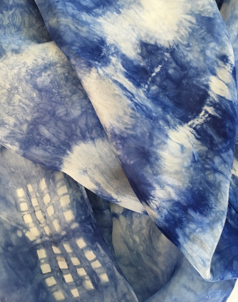 Indigo dyed silk scarves